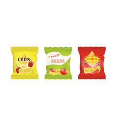 potato chips bags design with different flavors vector image