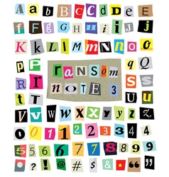 Ransom Note 3- Cut Paper Letters Numbers vector