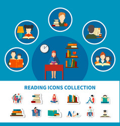 Reading icons collection vector