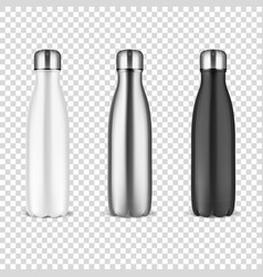 Realistic 3d white silver and black empty vector