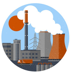 Retro industrial factory template vector