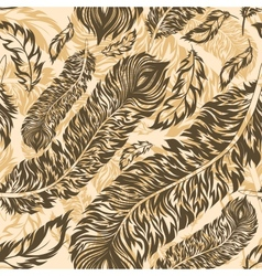 Retro seamless pattern with feathers vector image