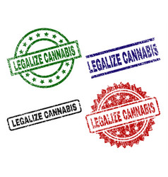 scratched textured legalize cannabis seal stamps vector image