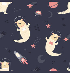 seamless pattern with otters and space elements vector image