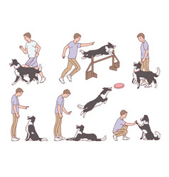 Set dog training for obedience scenes sketch vector