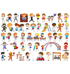 Set doodle children vector