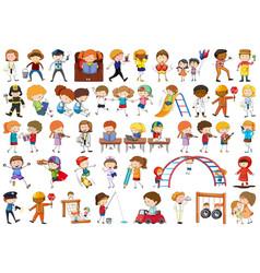 set doodle children vector image