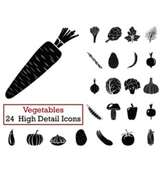 set of 24 vegetables icons vector image