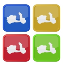 set of four square icons with scooter vector image