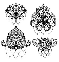 Set ornamental lotus flowers vector