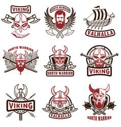 set vintage viking labels viking warrior in vector image