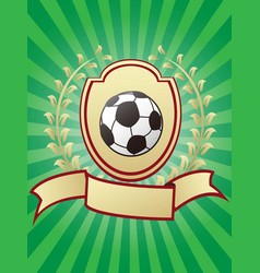soccer championship design shiny gold shield vector image