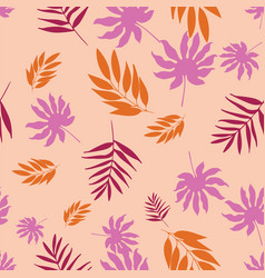 Soft pastel tropical leaves seamless vector