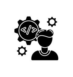 Software engineer black glyph icon vector