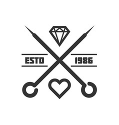 Tattoo master studio salon needle heart vector