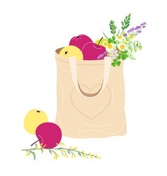 Textile eco bag with apples and wildflowers vector