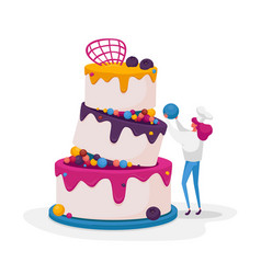 Tiny confectioner or baker female character in vector