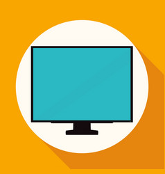 tv icon on white circle with a long shadow vector image