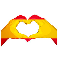 two palms make heart shape spanish flag vector image