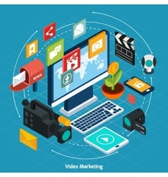 Video Marketing Isometric Concept vector