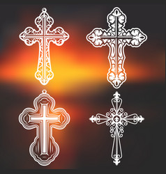Vintage white ornate religious crosses collection vector