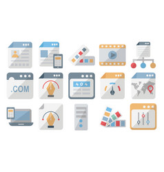 Web design and development isolated icons vector
