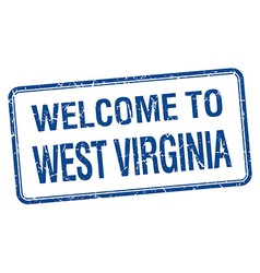 Welcome to West Virginia blue grunge square stamp vector