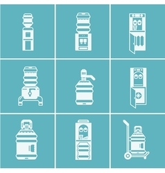 White icons for water coolers vector