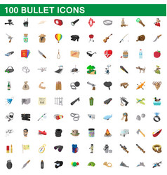 100 bullet icons set cartoon style vector image