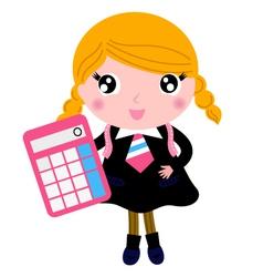 Beautiful blond school girl with calculator vector image vector image