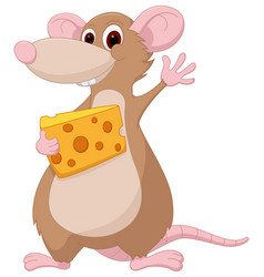 cute mouse cartoon holding a chesee vector image vector image