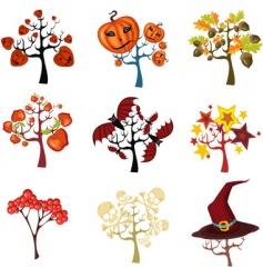 Halloween tree set vector