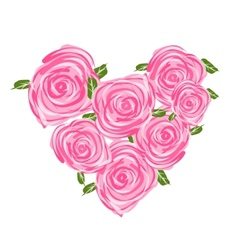Heart shape made from roses for your design vector image vector image