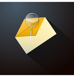 Magnifying Glass in Yellow Envelope Icon vector image vector image