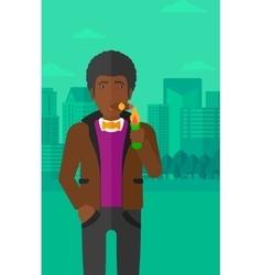 Man smoking cigar vector
