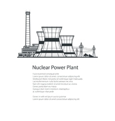 Nuclear Reactor and Power Lines Brochure Design vector image vector image