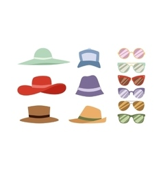 Summer hats and sunglasses set vector image vector image