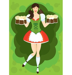 waitress with beer vector image