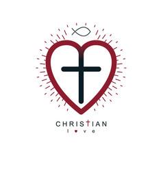 God christian love conceptual logo design vector