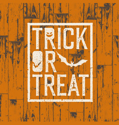 happy halloween logotype on orange colored wooden vector image vector image