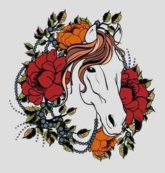 Horse tattoo 2 vector image