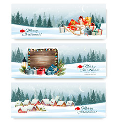 merry christmas holiday banners with a winter vector image vector image