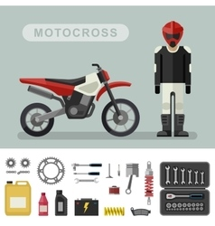 Motocross bike with parts vector image vector image