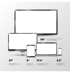 Blank TV screen lcd monitor notebook tablet vector image