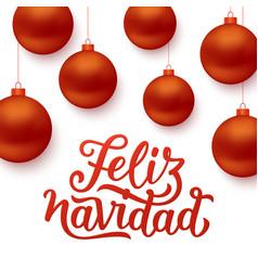 feliz navidad background with red christmas balls vector image