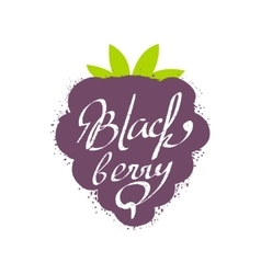 Blackberry Name Of Fruit Written In Its Silhouette vector image