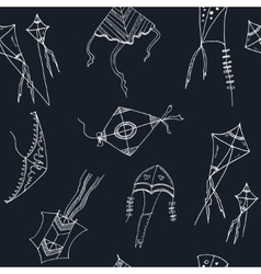 Doodle Kite seamless pattern on black Background vector image