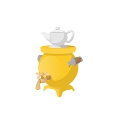Samovar with teapot icon cartoon style vector image vector image