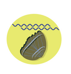 seashell flat icon with shadow and sea vector image vector image