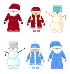 Set of Christmas Santa Claus snow maiden snowman vector image vector image